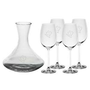 SALOMA CARAFE (ETCHED) & 4 WINE GLASS