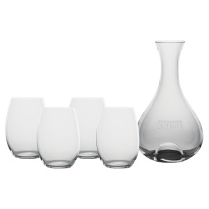 FIESTA CARAFE (ETCHED) & 4 STEMLESS WINE